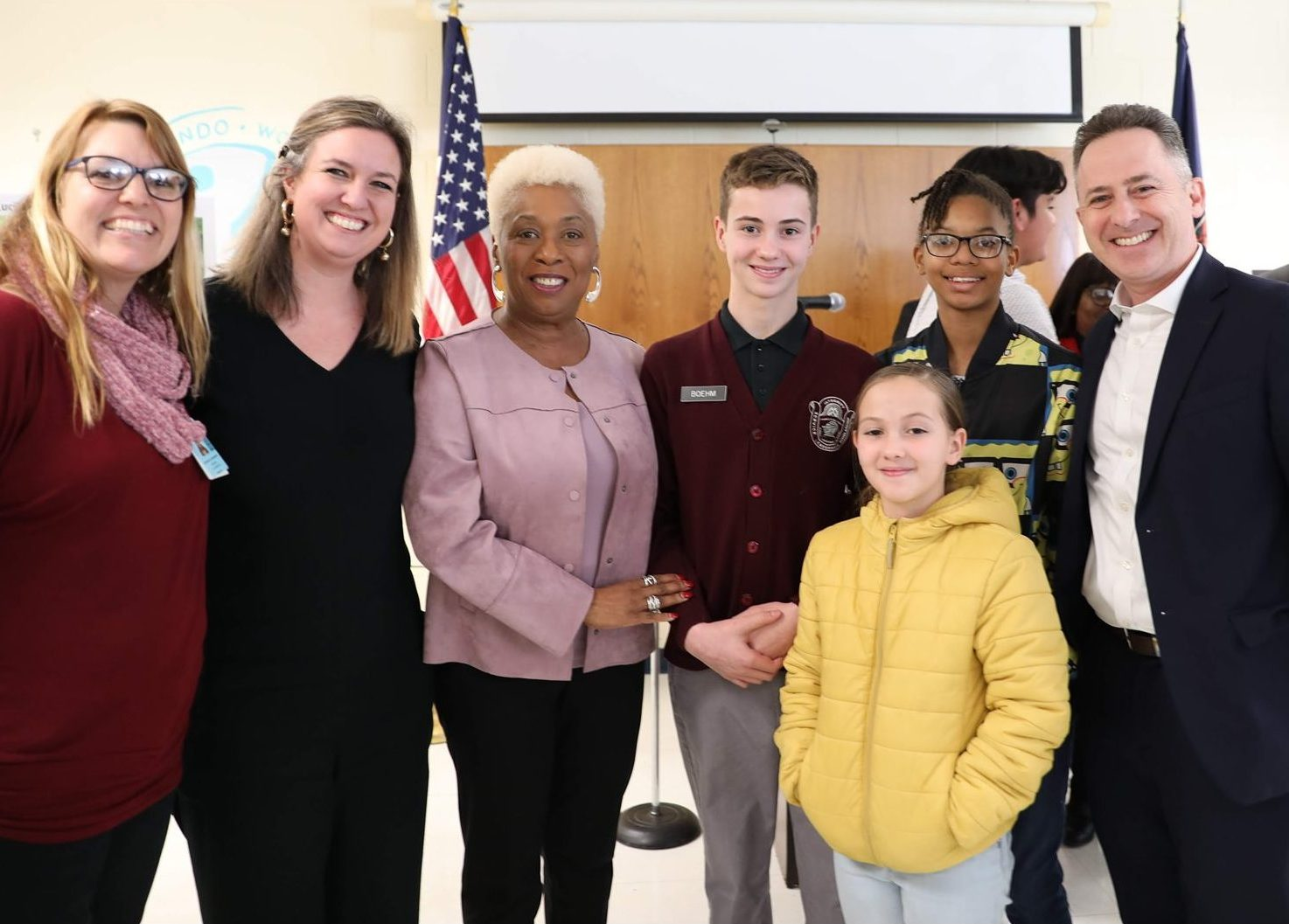 Richmond Public Schools superintendent, school board members, and students