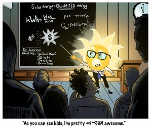 Cartoon showing the sun at a chalkboard teaching a classroom full of students