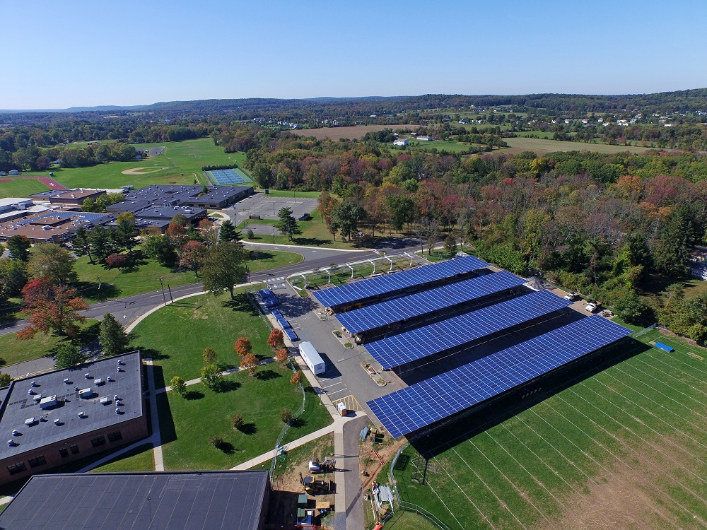 Solar canopy at Hopewell Valley High School