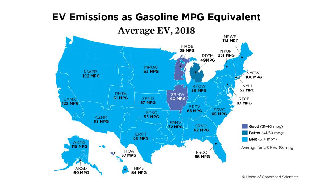 Map of U.S. showing EV emissions as gasoline mpg equivalent