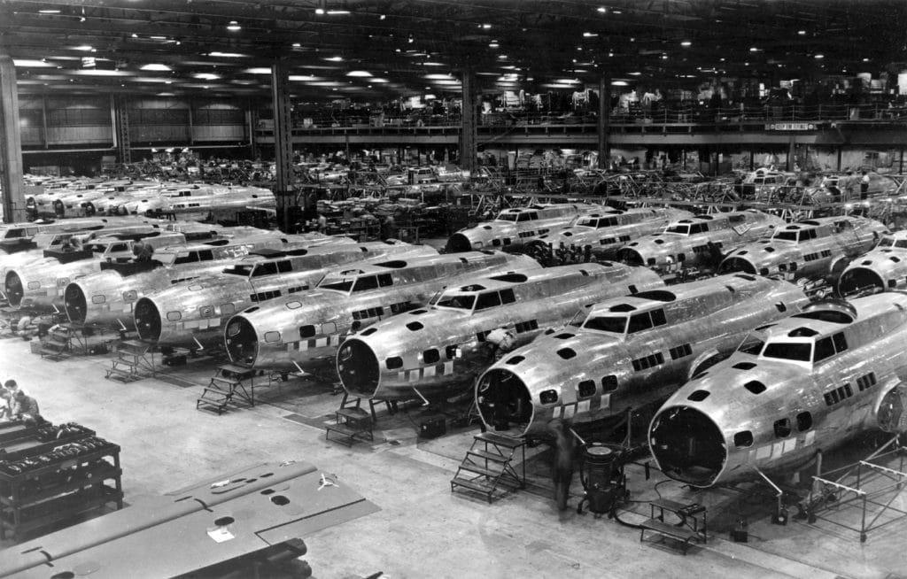 Airplane factory during World War II