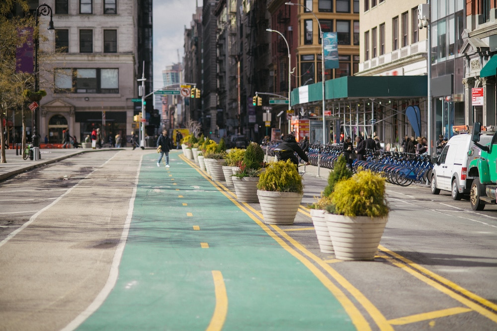 bike and pedestrian lanes in New York City